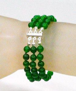 Pulseira de Jade Verde 6 mm com Fecho de Prata  - VIRAJ
