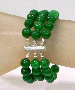 Pulseira de Jades (10 mm) com Fecho de Prata 925  - VIRAJ