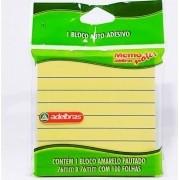 Bloco Auto-Adesivo Amarelo Pautado 1 Unid. 100 Folhas 76mmx76mm Adelbras