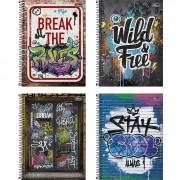 Caderno Espiral Capa Dura Universitário 10 Matérias Graffiti 160 Folhas Tilibra