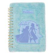 Caderno Espiral Duplo - 1/4 - Capa Dura de Pelúcia - Disney - Frozen 2 - 80 Folhas - Azul - Dermiwil
