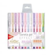 Caneta Gel Effect Glitter / Pastel / Neon 1.0mm com 12 Unidades - Tris