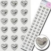 Cartela De Coração Prata Autocolante 13mm Crystal Stickers NYBC