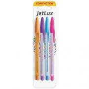 Conjunto de canetas coloridas com 4 unidades - Compactor