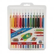 Conjunto Escolar 12 Lápis de cor + 12 Canetinhas Hidrocores - Tris