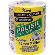 Fita Adesiva Polisil 12mmx65m Transparente - 10 Rolos Adelbras