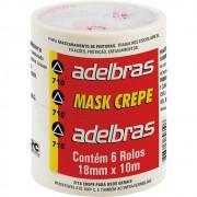 Fita Crepe 710 18mmx10m - 6 Rolos Adelbras