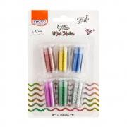 Glitter Mini Shake Pastel Blister com 6 cores de 3g cada - BRW