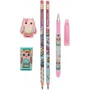 Kit Escolar Coruja 1 caneta + 2 lápis + 1 borracha + 1 apontador  Molin