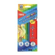 Lápis De Cor Mega Aquarell com 12 Cores Aquareláveis + 1 Pincel e 1 Apontador - Tris