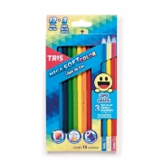 Lápis de Cor Mega Soft Colors 12 unidades + 3 Cores Primárias - Tris