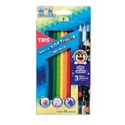Lápis de Cor Mega Soft Colors 12 Unidades + 3 Lápis Grafite HB Galaxy - Tris