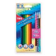 Lápis de Cor Mega Soft Colors 12 Unidades + 3 Lápis Grafite HB Star - Tris