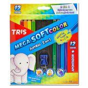 Lapis Mega Soft Color Jumbo 12 Cores + 1 Apontador Tris