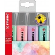 Marca Texto Kit Com 4 Unidades  Boss Original Pastel Stabilo