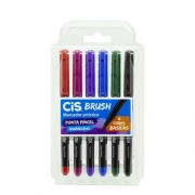 Marcador Artístico Brush Kit com 6 Cores Básicas com Ponta do Pincel Aquarelável - Cis