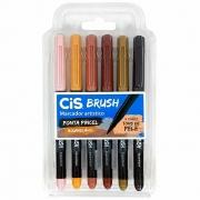 Marcador Artístico Brush Kit com 6 Cores Tons de Pele com Ponta do Pincel Aquarelável - Cis