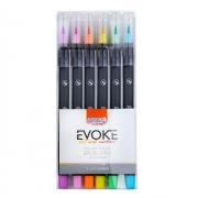 Marcador Artístico Brush Pen Aquarelável 6 Cores Pastéis Evoke - BRW