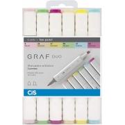 Marcador Artístico Graf Duo 6 Cores Tons Pastel - Cis