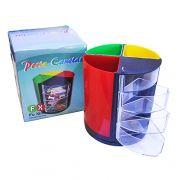 Porta Canetas Giratório Colors com 4 Gavetas 11X10CM
