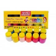 Tempera Guache 12 cores com 15 ml cada Radex