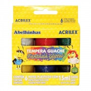 Tempera Guache Fantasia Glitter 6 unidades com 15 ml Acrilex