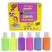 Tempera Guache Neon 6 cores com 18ml cada Radex