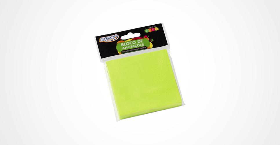 Bloco Adesivo Neon 76 x 76mm com 100 folhas - BRW
