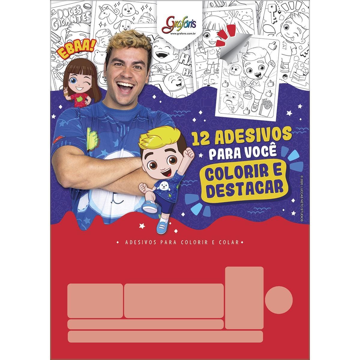 Bloco Adesivo para Colorir Luccas Neto - Tilibra