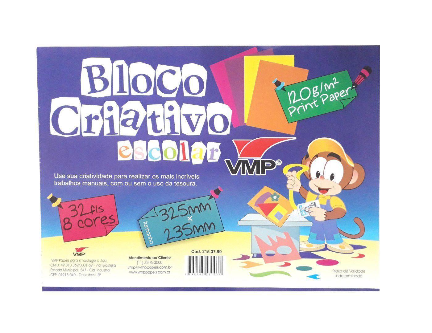 Bloco Criativo Escolar A3 com 32 folhas e 8 cores - VMP