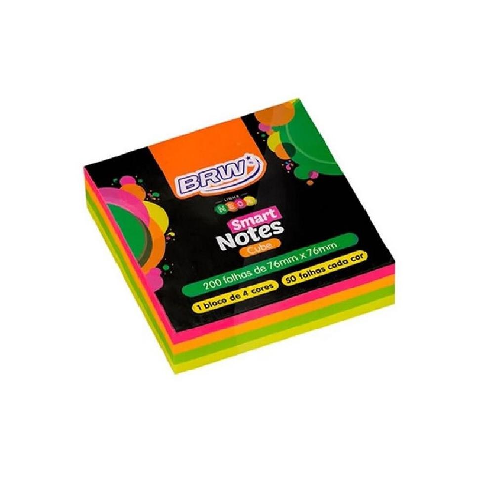 Bloco de Anotações Adesivo Smart Notes 4 Cores Neon 200 Folhas de 76x76mm - BRW