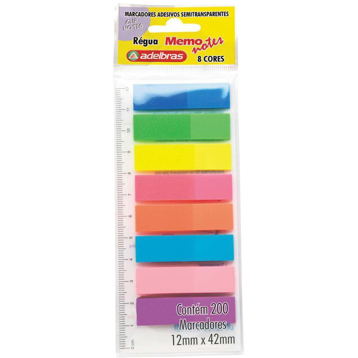 Bloco Marcador de Pagina Adesivo 8 Cores Neon com 200 un - Adelbras