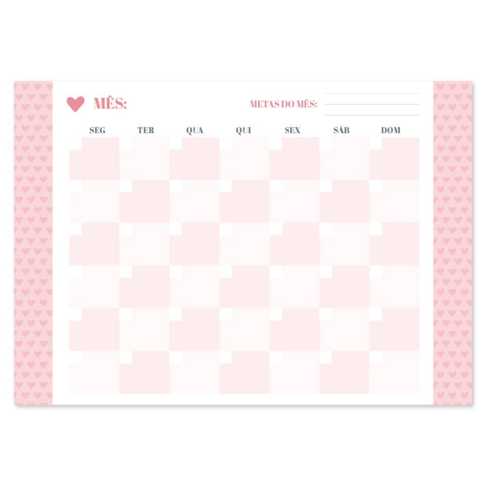Bloco Planner Calendário Permanente A4 Pink Stone - Ótima
