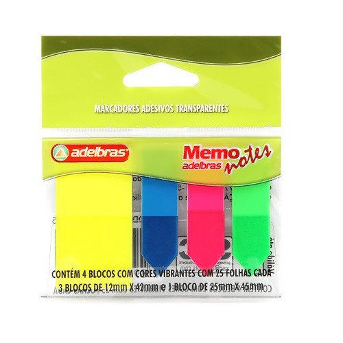 Marcadores Adesivos Cores Vibrantes 25 Folhas Cada 3 - 12mmx42mm e 1 - 25mmx45mm Adelbras