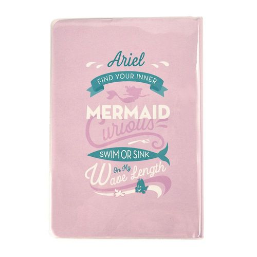 Caderno Brochura - 1/4 - Capa Glitter - Princesas Disney - Ariel - 80 Folhas - Rosa e Azul - Dermiwil