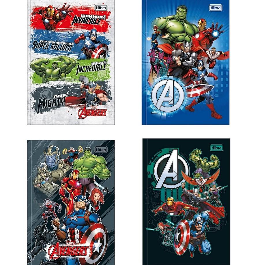 Caderno Brochura Capa Dura 1/4 Avengers Marvel 80 Fls Tilibra