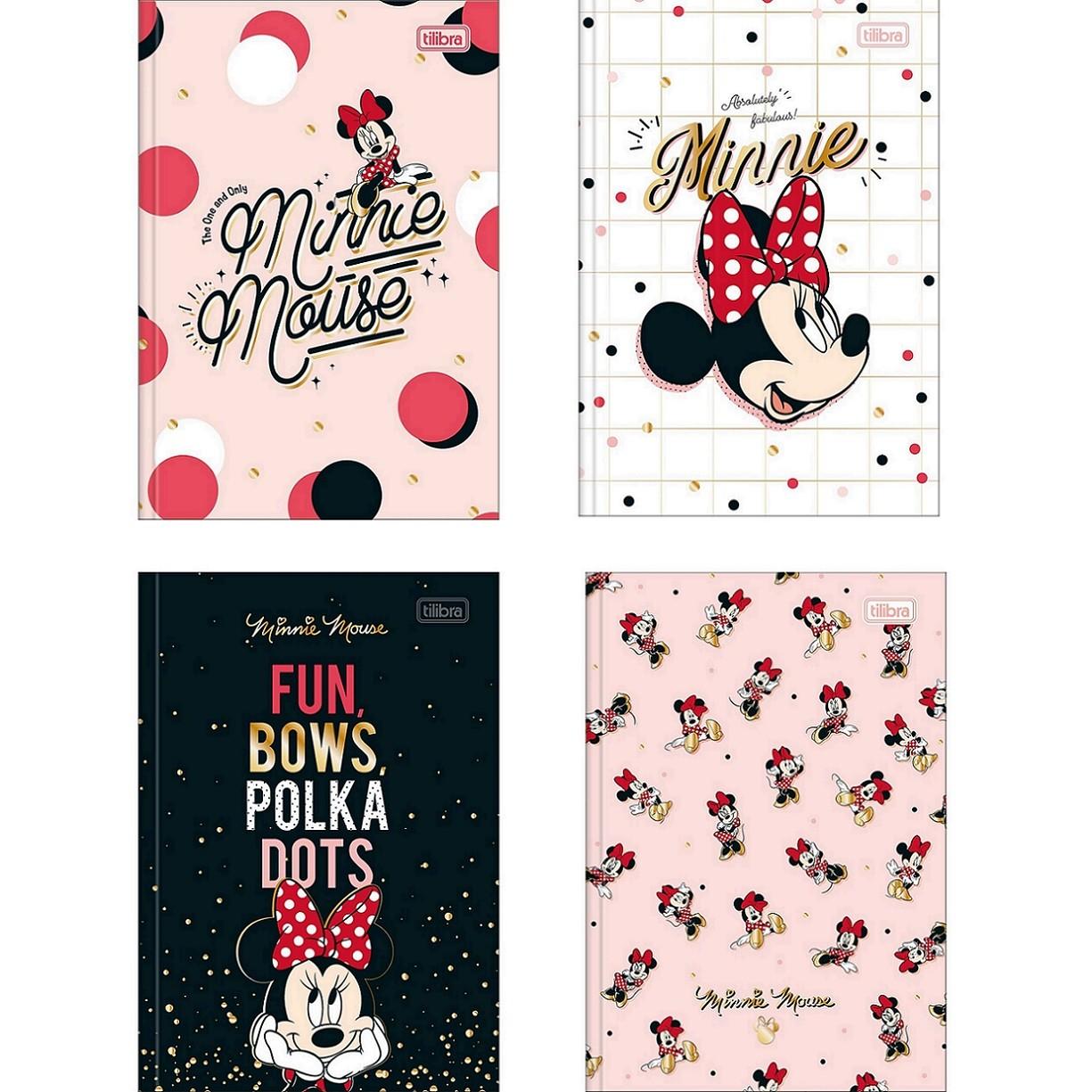 Caderno Brochura Capa Dura 1/4 Minnie Mouse 80 Fls Tilibra