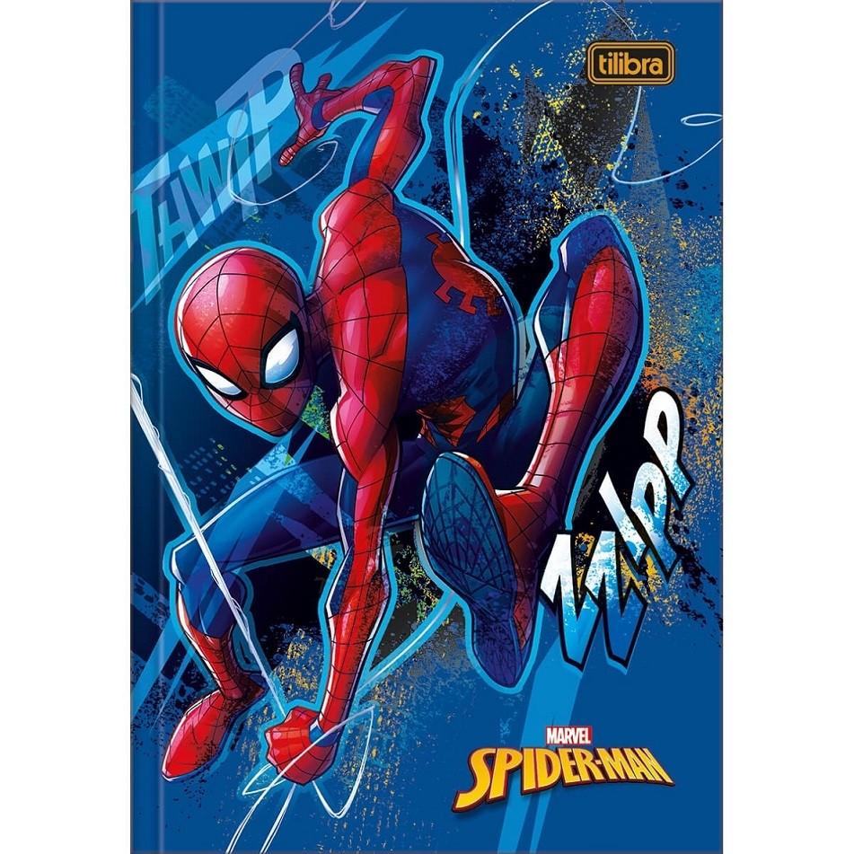 Caderno Brochura Capa Dura 1/4 Spider Man Marvel 80 Fls Tilibra