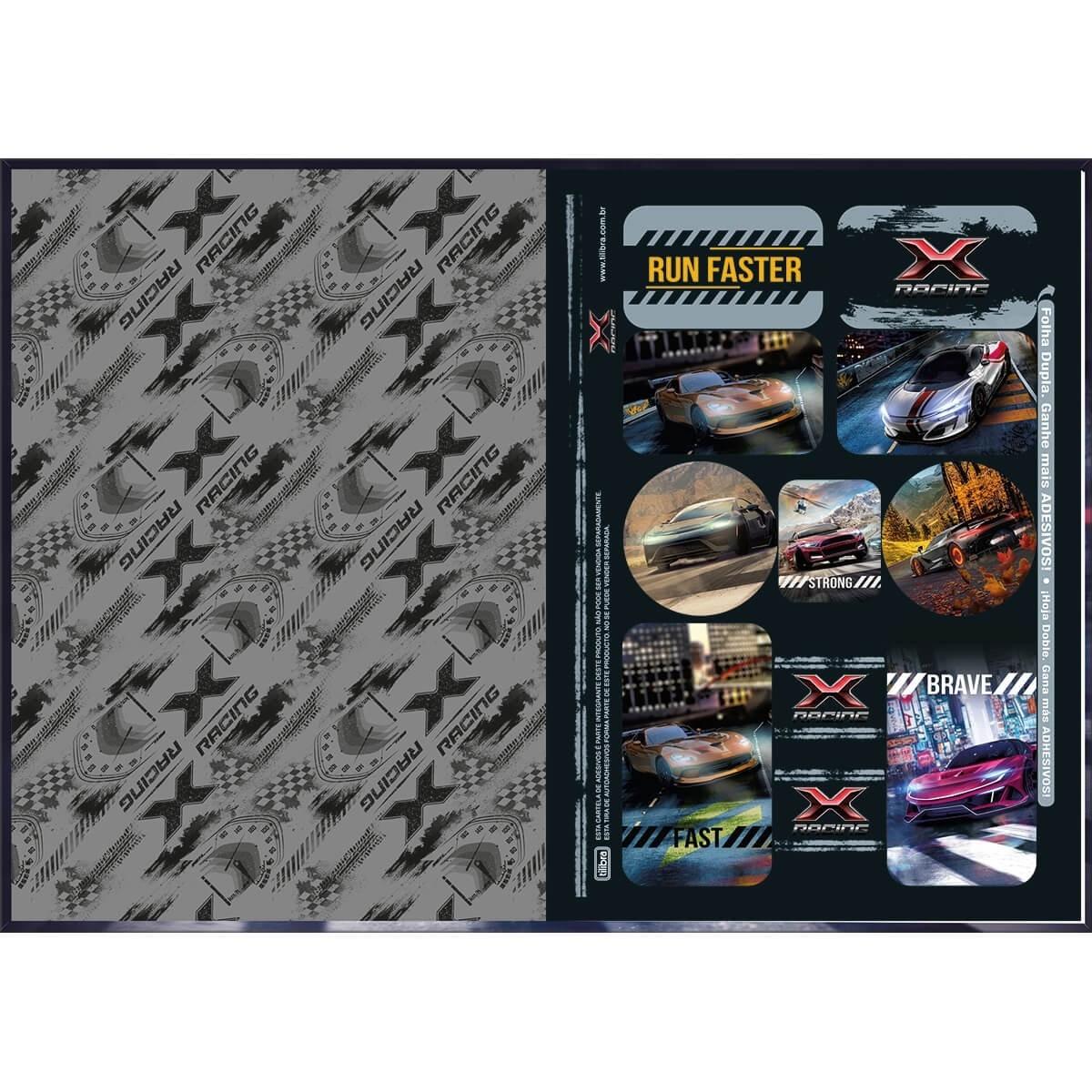 Caderno Brochura Capa Dura 1/4 x-racing 80 Fls Tilibra