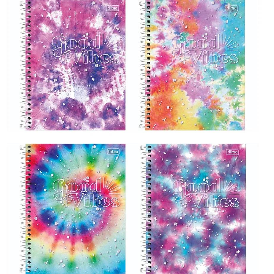 Caderno Espiral Capa Dura Good Vibes 10 Matérias - 160 Fls Tilibra