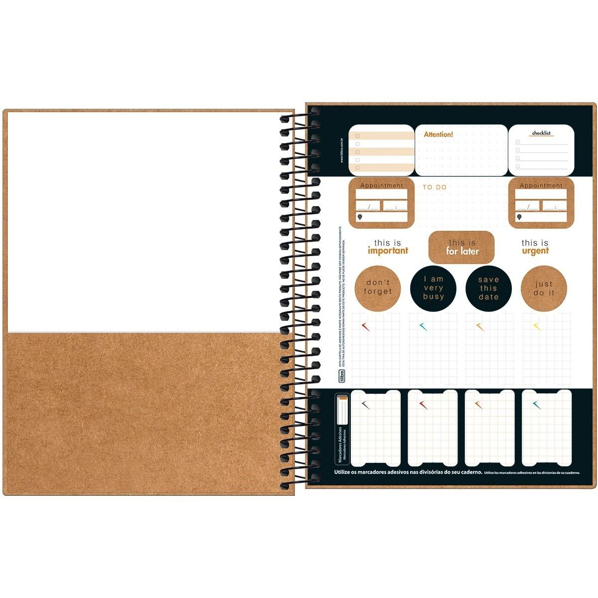Caderno Espiral Colegial Capa Dura KraftWork 1 Matéria 80 Fls