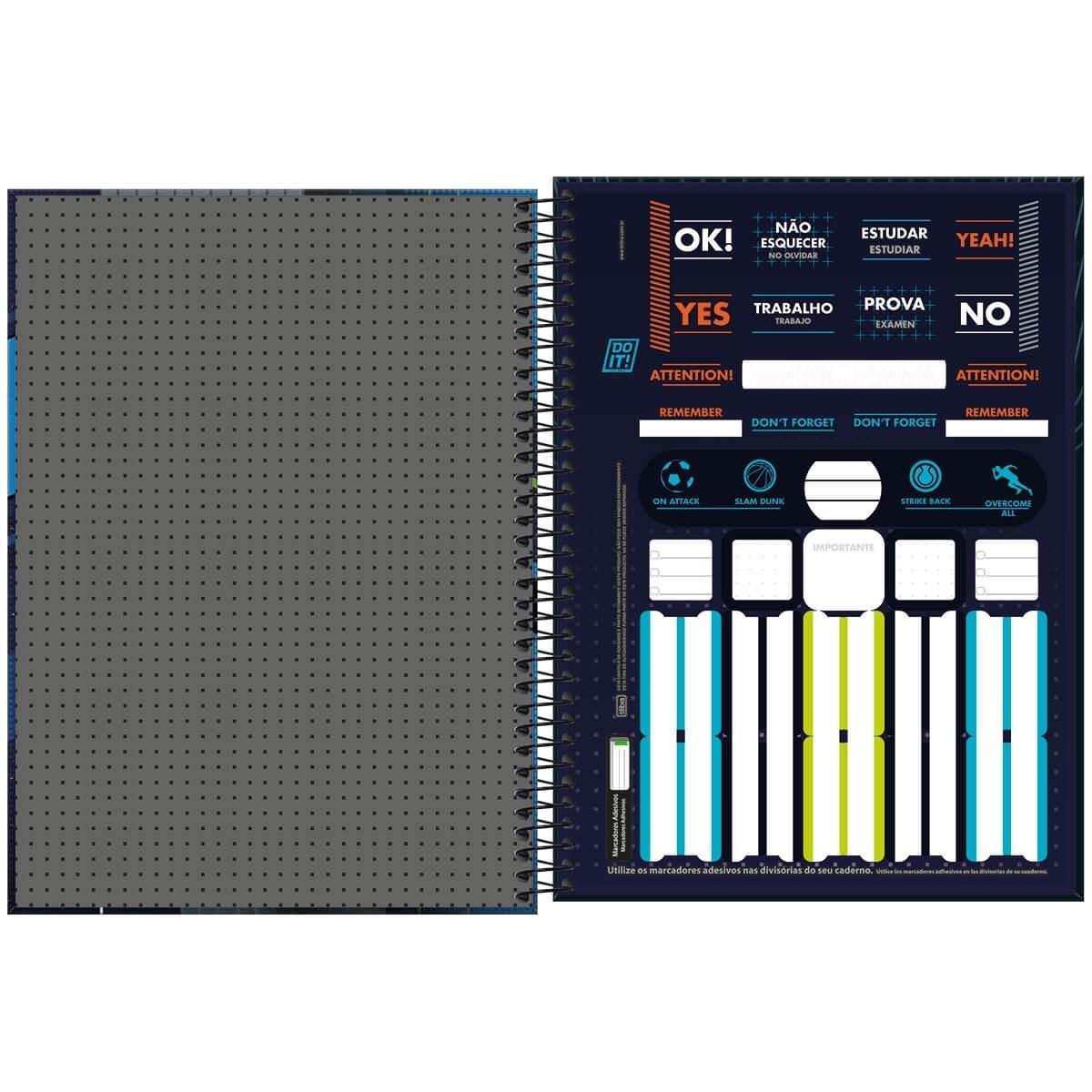 Caderno Espiral Capa Dura Universitário 10 Matérias Do It! 160 Folhas Tilibra