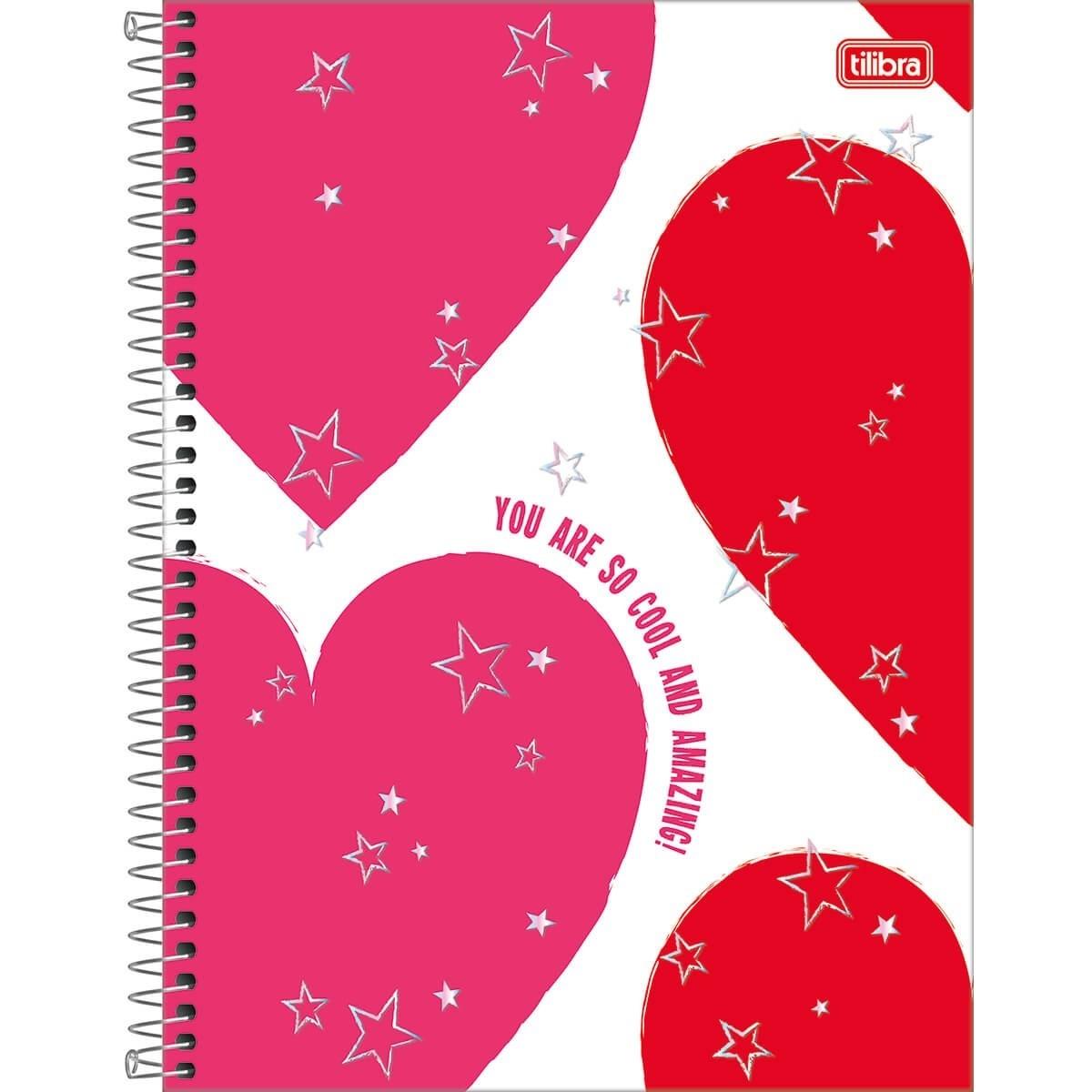 Caderno Espiral Capa Dura Universitário 10 Matérias Love Pink 160 Folhas Tilibra