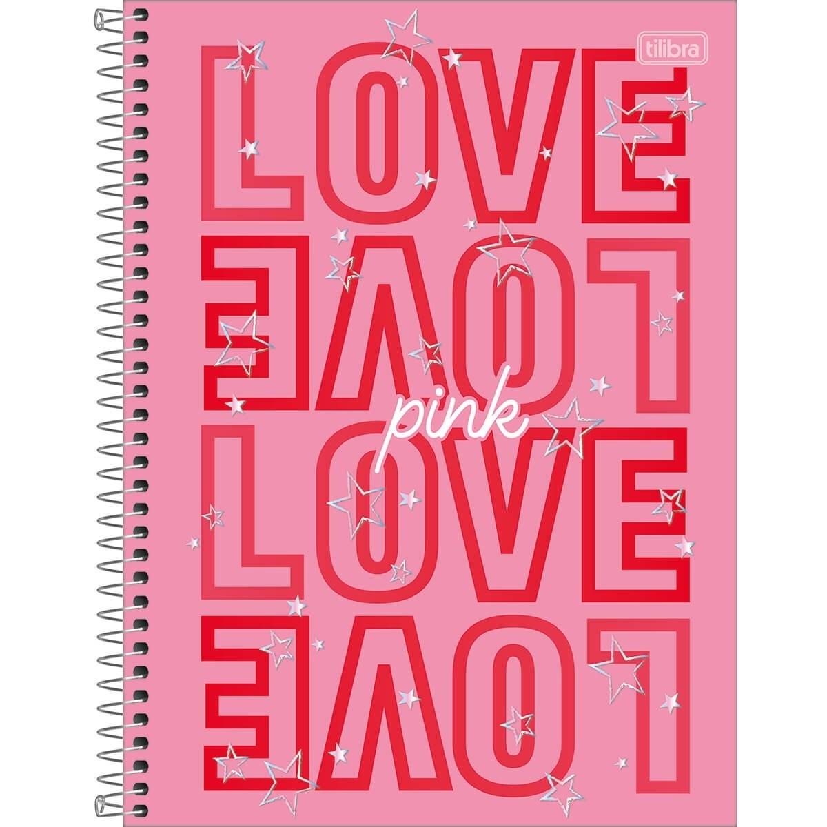 Caderno Espiral Capa Dura Universitário 16 Matérias Love Pink 256 Folhas Tilibra