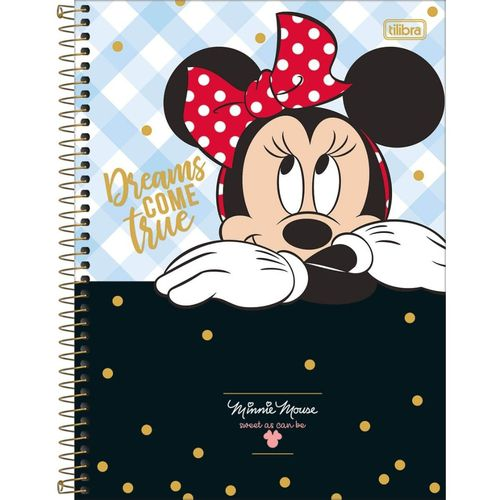Caderno espiral capa dura universitário 1 matéria Minnie