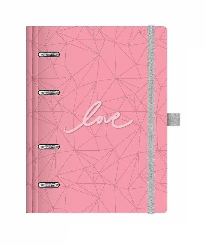 Caderno Organizador Planner Pink Stone Ótima + Refil de Agenda Permanente Maxi GM