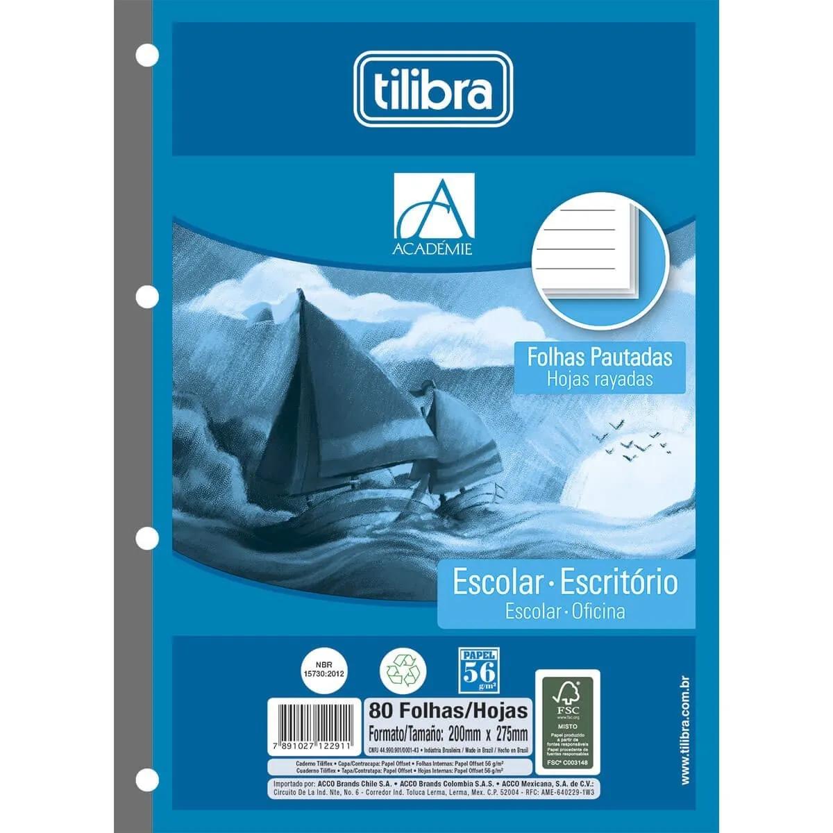 Caderno Refil Fichário Tiliflex Academie 80 Folhas Tilibra