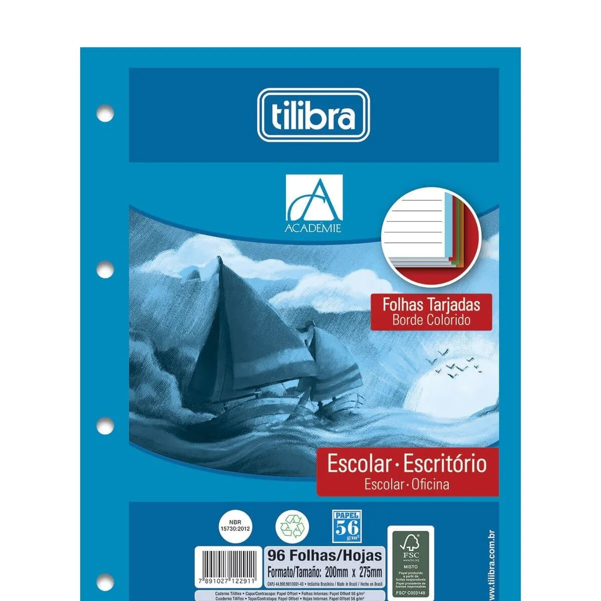 Refil Fichário Tiliflex Academie Borda Colorida 96 Fls (Pct c/ 5 unid) Tilibra