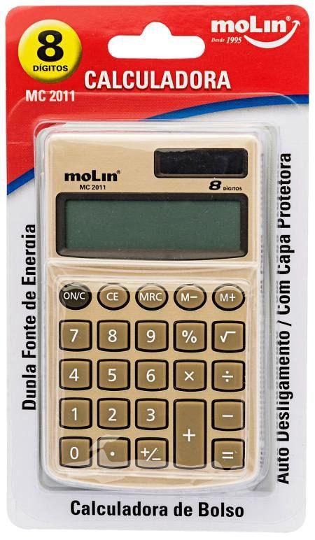 Calculadora De Bolso 8 Dígitos Dourada Dupla fonte de energia Molin