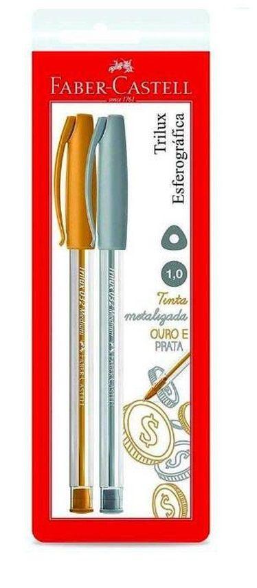 Caneta Esferográfica FABER-CASTELL Trilux c/ 2 Unds (Ouro e Prata)
